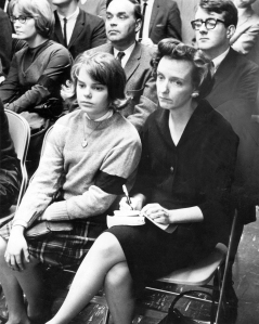 Mary Beth Tinker, left, with her mother during a school board meeting discussing her suspension for wearing a black arm band to protest the Vietnam War. (Courtesy Mary Beth Tinker)
