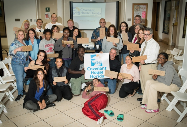 Local business leaders participate in Covenant House Florida's Executive Sleep Out on Nov. 20 in Fort Lauderdale. They slept outside for a night to experience what it is like for homeless youth, raising awareness to the cause.