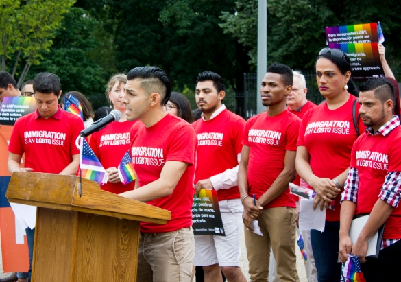 Marco A. Quiroga, National Field Officer at Immigration Equality, speaking about the life-saving asylum system and the unsafe conditions of immigration detention in front of the White House in September 2014.