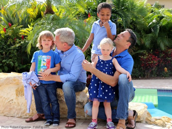Ferd van Gameren, left, and his husband, Brian Rosenberg, with their son Levi, 6, and twin daughters, Ella and Sadie, 5. The couple founded Gays With Kids in 2014. Credit: Robert Figueroa